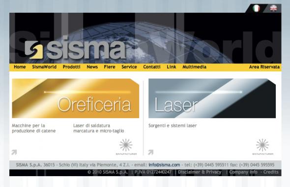 SISMA Spa sito web prodotti oreficeria e laser